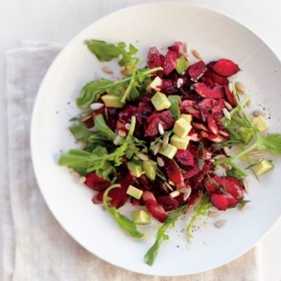 <p>Prepare the beet slaw on the first day and refrigerate leftovers. Add greens, avocado, and seeds just before eating.</p>