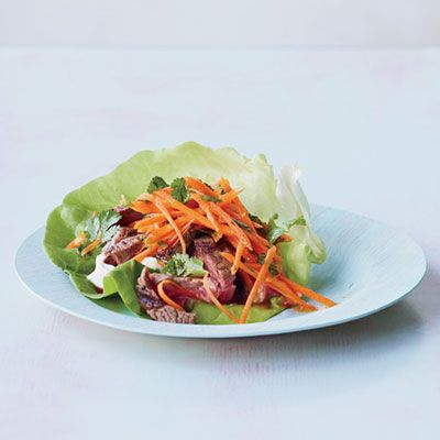 "<p>The rich and luscious sesame sauce is key to these quick Middle Eastern flavored lettuce cups.</p> <p><strong>Recipe:</strong> <a href=""http://www.delish.com/recipefinder/broiled-salmon-spinach-feta-saute-recipe-mslo0612""><strong>Turkish Lettuce Wraps</strong></a></p>"
