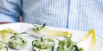 """<p>Crisp cucumbers and endive are topped with a healthy, flavorful mixture of edamame, smooth ricotta cheese, and caramelized shallot to make this light, elegant appetizer.</p><p><b>Recipe: </b><a href=""""http://www.delish.com/recipefinder/edamame-ricotta-spread-endive-cucumber-recipe-clv0711""""><b>Edamame-Ricotta Spread on Endive and Cucumber</b></a></p>"""