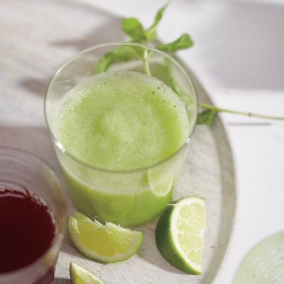 """<p>This melon, mint, and cucumber smoothie is healthy and refreshing and can be made in no time.</p> <p><strong>Recipe: <a href=""""http://www.delish.com/recipefinder/melon-mint-cucumber-smoothie-recipe-mslo0514"""">Melon, Mint, and Cucumber Smoothie</a></strong></p>"""