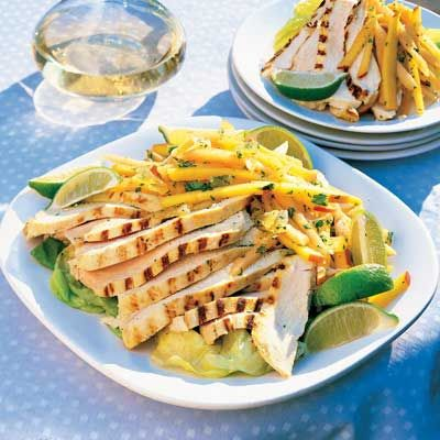"<p>Cilantro, ginger, curry, and yogurt combine to create a great dressing and marinade for this healthy yet zesty grilled chicken salad.</p><p><b>Recipe: <a href=""http://www.delish.com/recipefinder/chicken-mango-cantaloupe-slaw-987"">Curried Chicken with Mango and Cantaloupe Slaw</a></b></p>"