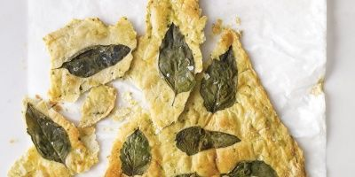 """<p>A mix of chopped and whole fresh basil transforms ordinary crackers into herb-infused snacks.</p> <p><strong>Recipe: <a href=""""http://www.delish.com/recipefinder/basil-flatbread-crackers-recipe-mslo0614"""" target=""""_blank"""">Basil Flatbread Crackers</a></strong></p>"""