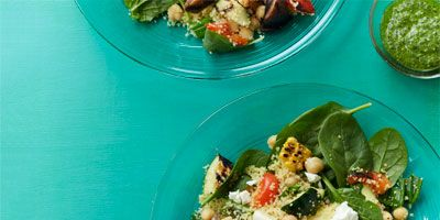 """<p>Grilled summer vegetables, couscous, and a fresh green pesto come together to create a healthy, well-rounded meal.</p> <p><strong>Recipe: <a href=""""http://www.delish.com/recipefinder/grilled-vegetable-salad-couscous-herb-pesto-recipe-wdy0613"""" target=""""_blank"""">Grilled Vegetable Salad with Couscous and Herb Pesto</a></strong></p>"""