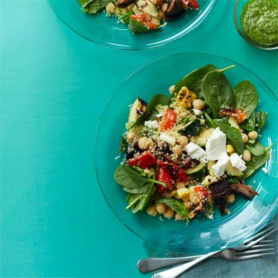 "<p>Grilled summer vegetables, couscous, and a fresh green pesto come together to create a healthy, well-rounded meal.</p> <p><strong>Recipe: <a href=""http://www.delish.com/recipefinder/grilled-vegetable-salad-couscous-herb-pesto-recipe-wdy0613"" target=""_blank"">Grilled Vegetable Salad with Couscous and Herb Pesto</a></strong></p>"