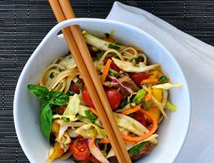 """<p>If summer were a noodle recipe, this would be it. Lime, agave nectar, mint leaves, cilantro, cherry tomatoes, and avocado are just a few of the refreshing ingredients lurking under juicy, teriyaki-marinated steak.</p> <p><strong>Get the recipe from <a href=""""http://camillestyles.com/tuesday-tastings/tuesday-tastings-thai-steak-noodles/"""" target=""""_blank"""">Camille Styles</a>.</strong></p>"""