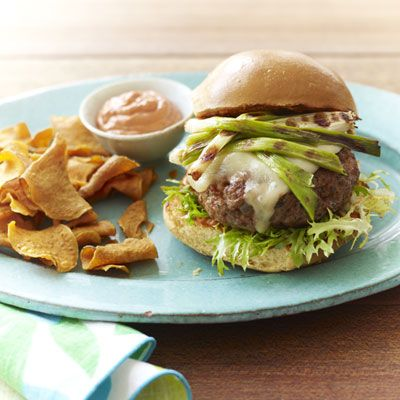 <p>Grilled scallions and mayo laced with smoked paprika and lemon make delicious, Spanish-inspired toppers for these quick and easy burgers.</p>