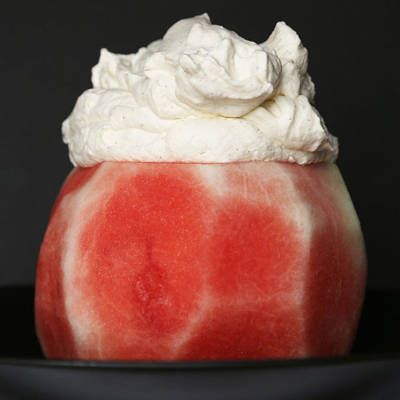 Make vanilla bean whipped cream, and dollop the entire batch on the top of the watermelon.