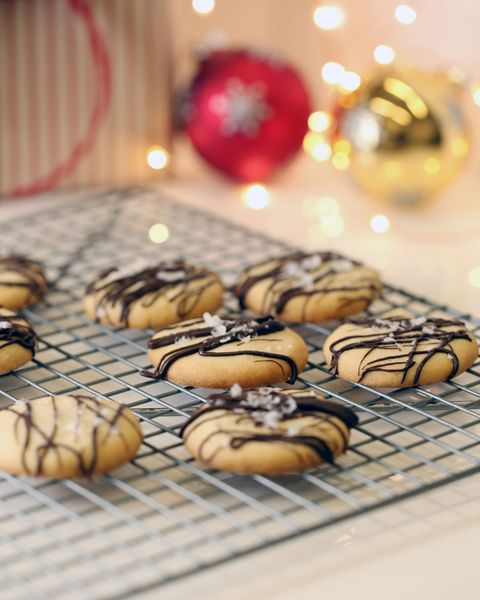 Sugar Cookies with Chocolate Drizzle and Sea Salt