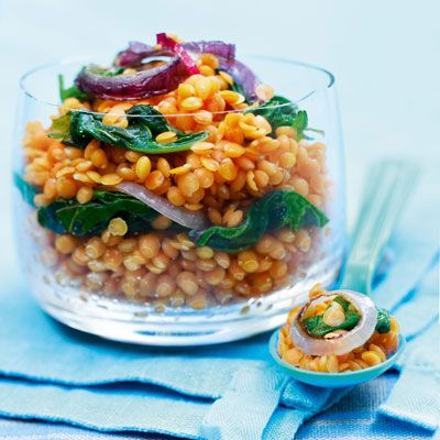 """<p>Lentils are the protein-packed stars of this easy, two-ingredient dish. Throw in some curry powder and you have a 100% fresh, healthy meal.</p> <p><strong>Recipe:</strong> <a href=""""http://www.delish.com/recipefinder/curried-lentils-recipe-del0813"""" target=""""_blank"""">Curried Lentils</a></p>"""
