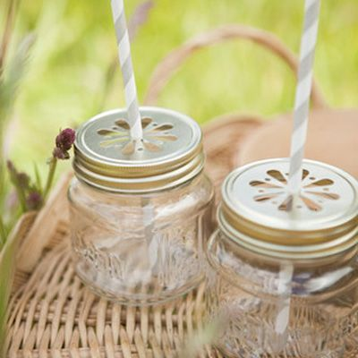 "<p>Keep bugs out of your drinks with these reusable mini drinking jars and lids. Bonus: They come with cute and colorful compostable paper straws.</p> <p><em>($49 for 12 8 oz. jars, lids, and straws; <a href=""http://www.acmepartybox.com/products/glass-drinking-jars-box-of-12"" target=""_blank"">acmepartybox.com</a>)</em></p>"