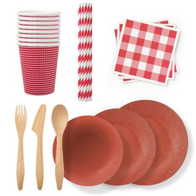 "<p>Go green at your picnic by using disposable tableware that isn't a drain on the environment — <a href=""http://www.sustyparty.com"" target=""_blank"">Susty Party</a> offers eco-friendly picnic supplies made from renewable resources and sustainably harvested plants in seasonal patterns and colors. All of the company's products are nontoxic, BPA-free, and compostable. </p> <p><em>($75 for a 24-person party pack; <a href=""http://www.sustyparty.com/collections/red/products/party-pack-red"" target=""_blank"">sustyparty.com</a>)</em></p>"