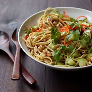 "<p>Skip pricey Chinese takeout and munch on this tasty salad of spaghetti noodles coated in a flavorful sauce of sesame oil, soy sauce and fresh ginger next time you have a working lunch or business meeting.</p>  <p><strong>Recipe:</strong> <a href=""http://www.delish.com/recipefinder/cold-sesame-noodle-salad-recipe-wdy0311""><strong>Cold Sesame Noodle Salad</strong></a></p>"