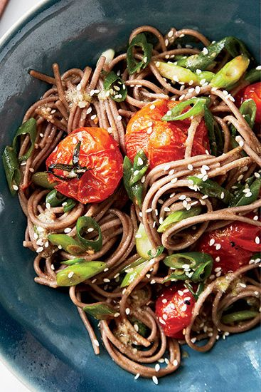 Roasting cherry tomatoes in a mix of miso, ginger, sesame, lime juice, and honey creates a tangy, bright sauce for soba noodles; try adding shrimp for an even more substantial dish.