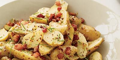 """<p>Whisk brown butter into a tangy, mustardy dressing for creamy fingerling potatoes.</p> <p><strong>Recipe:</strong> <a href=""""http://www.delish.com/recipefinder/warm-potato-salad-pancetta-dressing-recipe""""><strong>Warm Potato Salad with Pancetta and Brown-Butter Dressing</strong></a></p>"""
