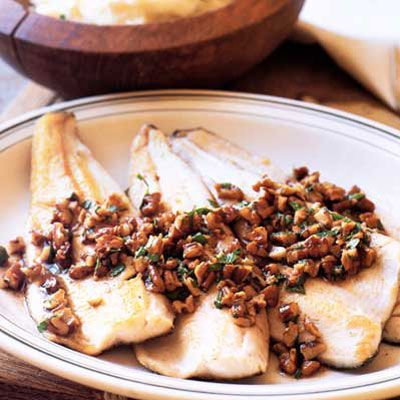 """<p>Brown butter is a sublimely simple sauce. Emphasize the butter's nutty flavor with pecans, throw in a little sage and parsley, and you have an ideal topping for trout. </p><br />  <p><b>Recipe: <a href=""""/recipefinder/sauted-brook-trout-brown-butter-pecans-recipe-7775"""">Sautéed Brook Trout with Brown Butter and Pecans</a></b></p>"""