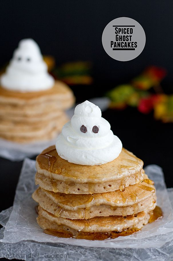 "<p>Why not send the little ones off to school already in the Halloween spirit with these sweetly spooky pancakes?</p> <p><strong>Get the recipe from <a href=""http://www.tasteandtellblog.com/spiced-ghost-pancakes/"" target=""_blank"">Taste and Tell</a>.</strong></p>"
