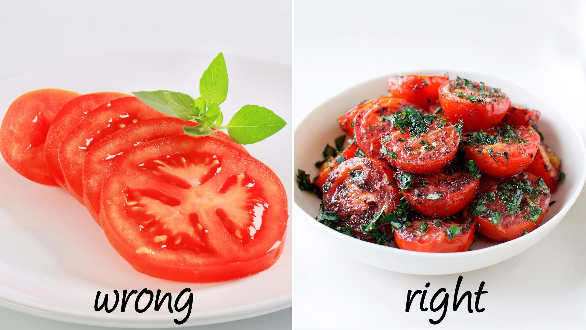"""<p><strong>Wrong</strong>: Though tomatoes are delicious with a sprinkle of salt and some balsamic, eating them raw is actually not your best bet.</p> <p><strong>Right:</strong> Cook them. Adding heat and oil to tomatoes makes it easier for your body to absorb lycopene, according to research from Harvard University, published in the <a href=""""http://jnci.oxfordjournals.org/content/94/5/391.full""""><em>Journal of the National Cancer Institute</em></a>. And a 2011 study published in the <a href=""""http://ajl.sagepub.com/content/5/2/182""""><em>American Journal of Lifestyle Medicine</em></a> found that lycopene helps reduce the risk of stroke, certain cancers, and heart disease. </p>"""