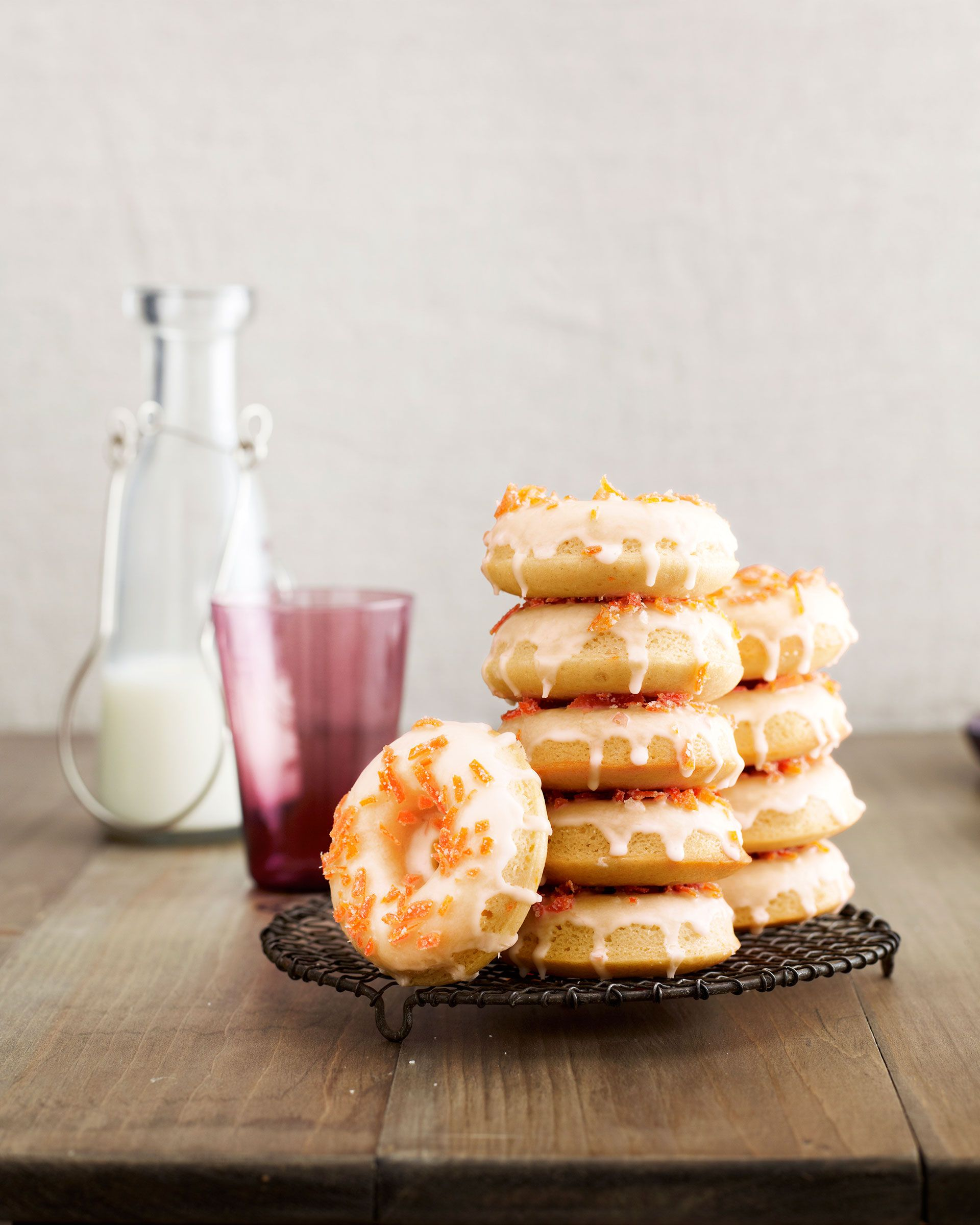 """Tangy buttermilk and tart grapefruit give this classic treat a sophisticated update. <p><br/><strong>Recipe: <a href=""""/recipefinder/grapefruit-buttermilk-doughnuts-candied-zest-recipe-clv0214?click=recipe_sr"""" target=""""_blank"""">Grapefruit Buttermilk Doughnuts with Candied Zest</a></strong></p>"""