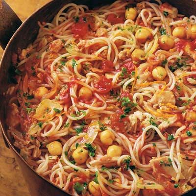 "<p>Turn your tuna, ever-present in the pantry, into an Italian masterpiece.  We've used calcium- and protein-rich tuna in oil that tastes as good as meat with pasta. Throw in some tomatoes and chickpeas and liven the dish up with some orange zest and fennel and you're good to go. A quick, easy, healthy meal that tastes like anything but!</p>  <p><strong>Recipe: <a href=""http://www.delish.com/recipefinder/fedelini-tuna-chickpeas-recipe-8079"" target=""_blank"">Fedelini with Tuna and Chickpeas</a></strong></p>"
