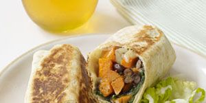 """<p>You won't even miss the meat when it's substituted with sautéed sweet potatoes. It's filling, fiber-rich and plays well with creamy black beans. Also, crisping the outside of each burrito may seem unnecessary, but it's definitely well worth the effort.</p>  <p><strong>Recipe:</strong> <a href=""""http://www.delish.com/recipefinder/sweet-potato-black-bean-burritos-recipe-wdy0911""""><strong>Sweet Potato and Black Bean Burritos</strong></a></p>"""