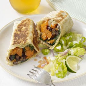 <p>You won't even miss the meat when it's substituted with sautéed sweet potatoes. It's filling, fiber-rich and plays well with creamy black beans. Also, crisping the outside of each burrito may seem unnecessary, but it's definitely well worth the effort.</p>