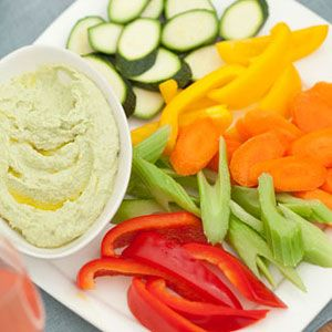 "<p>This delicious on the go snack is packed with protein and flavor.</p>  <p><strong>Recipe:</strong> <a href=""http://www.delish.com/recipefinder/edamame-hummus-veggies-recipe-wdy1009""><strong>Edamame Hummus with Veggies</strong></a></p>"