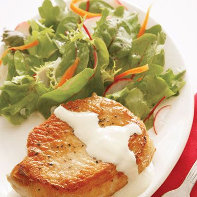 "At less than 175 calories per serving, this supper was part of the structured eating plan that helped Christine shed 60 pounds.<br /><br /><a href=""/recipefinder/christine-frazers-pork-chops-with-dijon-cream-sauce"">Get this recipe!</a>"