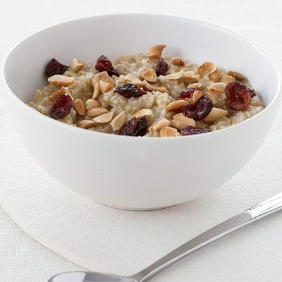 "<p>Many people miss out on the nutty flavor and nubby texture of oatmeal made with steel-cut oats because they assume it's too time-consuming to prepare. But if you soak the oats overnight, they cook in just 10 minutes.</p><br><br> <p>Recipe: <a href=""http://www.delish.com/recipefinder/overnight-oatmeal-almonds-cranberries-recipes"" target=""_blank"">Overnight Oatmeal with Almonds and Dried Cranberries</a>"