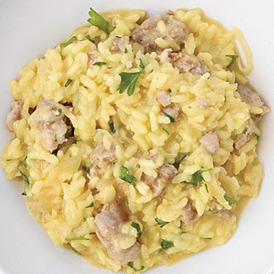 """In this version, Pecorino is substituted for Parmigiano-Reggiano.<br /><br /><b>Recipe:</b> <a href=""""/recipefinder/fennel-sausage-risotto-recipe""""target=""""_new"""">Fennel and Sausage Risotto</a>"""