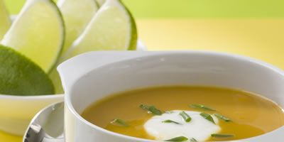 """<p>This silky-smooth butternut soup gets a hit of spice from chipotle, cloves, and cumin.</p><br /> <p><a href=""""/recipefinder/baja-butternut-squash-soup-recipe-6747"""" target=""""_blank"""">Get the recipe!</a>"""