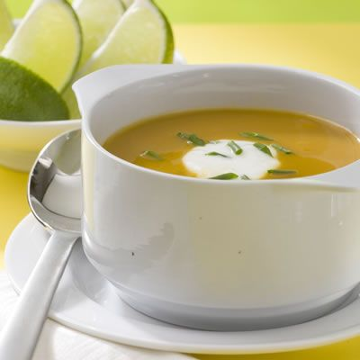 """<p>This silky-smooth butternut soup gets a hit of spice from chipotle, cloves, and cumin.</p><br /><p><a href=""""/recipefinder/baja-butternut-squash-soup-recipe-6747"""" target=""""_blank"""">Get the recipe!</a>"""