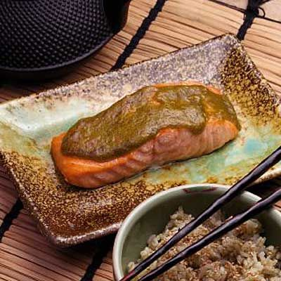 <p>Miso sauces have recently moved out of Japan and into the global culinary landscape — and why not? Here, the fermented bean paste, familiar as a soup base, becomes a sweet, delicious glaze, turning a simple roast salmon into an international sensation.</p><br />