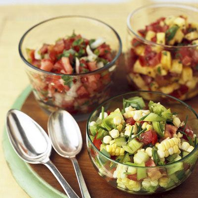 "<p>Salsa is always a smart choice when watching your waistline. Tomatoes, onions, and seasonings pack a lot of flavor without adding any fat to your meal.</p><br /><p><b>Pictured Recipes:</b></p><p><b><a href=""/recipefinder/green-tomato-salsa"" target=""_blank"">Green Tomato Salsa</a></b></p><p><b><a href=""/recipefinder/salsa-fresca"" target=""_blank"">Salsa Fresca</a></b></p><p></a></p><p><b><a href=""/recipefinder/pineapple-tomato-salsa"" target=""_blank"">Pineapple-Tomato Salsa</a></b></p>"