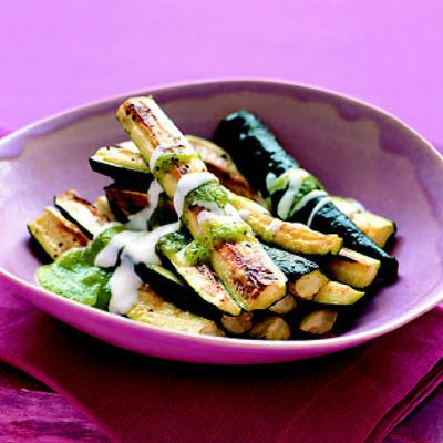 "<p>Three simple ingredients create a zucchini dish with two distinct sauces (rosemary yogurt and zucchini coulis). If you don't have rosemary olive oil on hand, you can infuse your own with little fuss by heating heart-healthy olive oil and rosemary over low heat for a few minutes.</p><br /><p><b>Recipe: <a href=""/recipefinder/roasted-zucchini-rosemary-yogurt"" target=""_blank"">Roasted Zucchini with Rosemary Yogurt and Zucchini Coulis</a></b></p>"
