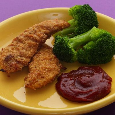 "Rather than a heavy coating, these chicken fingers are lightly covered in a spicy ground almond and whole-wheat flour mixture.<br /><br /><b>Recipe:</b> <a href=""http://www.delish.com/recipefinder/almond-crusted-chicken-fingers-recipe-5235""target=""_new"">Almond-Crusted Chicken Fingers</a>"