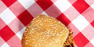 """Impress your barbecue guests with this deceptively simple Southern-style sandwich recipe from <b><a href=""""http://search.barnesandnoble.com/booksearch/isbnInquiry.asp?EAN=9780761149439&lkid=J25249592&pubid=K125307&byo=1"""" target=""""_new""""><i>The Barbecue Bible</i></a></b> author Steven Raichlen. This dish is ridiculously easy to make, but it looks and tastes like you've been cooking all day. All you do is add charcoal and wood chips every hour of the cook time.<br /><br /> <b>Recipe: <a href=""""/recipefinder/easy-carolina-pork-shoulder-sandwich-recipe""""target=""""_new"""">Easy Carolina Pork-Shoulder Sandwich</a></b>"""