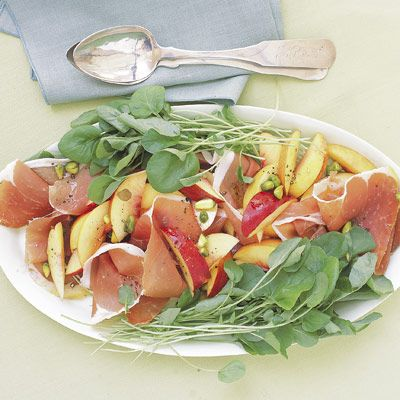"Salty prosciutto and sweet nectarines combine with bitter watercress and crunchy pistachios to create a unique flavor for this summer-fresh salad.<br /><br /><b>Recipe: <a href=""/recipefinder/nectarine-salad-prosciutto-2704"" target=""_blank"">Nectarine Salad with Prosciutto</a></b>"