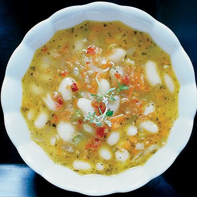 """<p>A light broth loaded with chunky Great Northern beans and topped with a sprinkling of bacon, this soup was inspired by <i>caldo gallego</i>, a type of white-bean soup from Spain.</p><br /><p><b>Recipe: </b><a href=""""/recipefinder/white-bean-soup-bacon-herbs-recipe"""" target=""""_blank""""><b>White-Bean Soup with Bacon and Herbs</b></a></p>"""