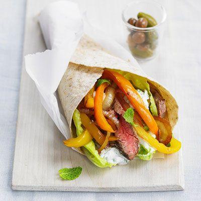 "This grilled flank steak wrap sandwich gets a healthy Greek-style flavor from tangy garlic-mint yogurt sauce.<br /><br/><b>Recipe: <a href=""/recipefinder/flank-steak-souvlakis-recipe"" target=""_blank"">Flank Steak Souvlakis</a></b>"