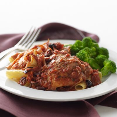 "<p>Studded with marinated artichoke hearts and Kalamata olives, this sautéed chicken dish is topped with spicy tomato sauce and served over the pasta of your choice.</p><br /><p><b>Recipe:</b> <a href=""/recipefinder/chicken-rustica-arrabbiata-recipe-btl0810"" target=""_blank""><b>Chicken Rustica Arrabbiata</b></a></p>"