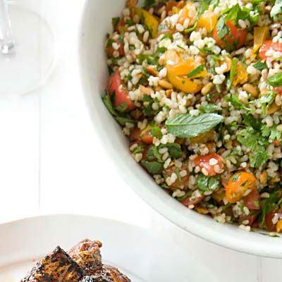 "<p>Tabbouleh is a Middle Eastern salad typically made with bulgur (dried and ground or crushed wheat berries that are parboiled). Here, warm brown rice takes bulgur's place. You can serve the bright, colorful salad with pita wedges for a starter.<br /><strong>Recipe:</strong> <a href=""../../../recipefinder/nutty-brown-rice-tabbouleh-recipe-fw1010"" target=""_blank""><strong>Nutty Brown-Rice Tabbouleh</strong></a></p>"
