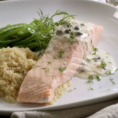 "<p>Keep this recipe on hand if you're entertaining guests or simply looking to add a tasty variation to your dinner routine. We recommend serving with fresh green beans and brown rice.</p><br /><p><b>Recipe:</b> <a href=""/recipefinder/poached-salmon-creamy-piccata-sauce-recipe-10021"" target=""_blank""><b>Poached Salmon with Creamy Piccata Sauce</b></a></p>"