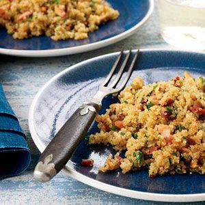 "<p>""Quinoa is a miracle food,"" says Bruce Sherman. Native to the Andes Mountains, the nutty, protein-rich grain is now also grown in the U.S. Sherman tosses it with smoky bacon and toasted almonds to make a substantial side dish that's delicious with poached eggs or roasted chicken.</p><p><b>Recipe:</b> <a href=""/recipefinder/bacon-quinoa-almonds-herbs-recipe"" target=""_blank""><b>Bacon Quinoa with Almonds and Herbs</b></a></p>"