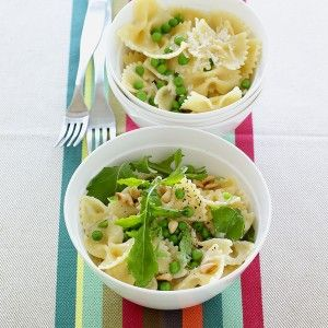 "<p>Peppery arugula and toasted pine nuts add grown-up flavors to a kid-friendly pasta dish. The bowties (farfalle) are always popular with kids, but you could use other short pasta shapes in this recipe, such as fusilli, orecchiette, or penne.</p><p><b>Recipe: <a href=""/recipefinder/creamy-pasta-peas-recipe-mslo0312"">Creamy Pasta with Peas</a></b></p>"