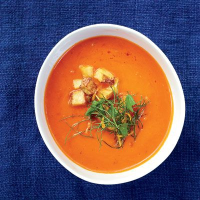 """<p>For the best texture in this vibrant tomato soup, purée half of the soup until smooth, then stir it into the chunky base.</p><br /><p><b>Recipe: </b><a href=""""/recipefinder/chunky-tomato-soup-recipe-fw0311"""" target=""""_blank""""><b>Chunky Tomato Soup </b></a></p>"""