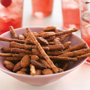 "<p>One handful is never enough of this crunchy bar snack, which goes great with beer or soda.</p><p><b>Recipe:</b> <a href=""http://www.delish.com/recipefinder/spicy-sweet-pretzel-mix-recipe-mslo0311""><b>Spicy-Sweet Pretzel Mix</b></a></p>"
