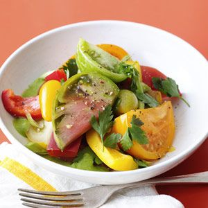 "This salad is a deconstructed take on gazpacho, a chilled Spanish soup. Tabasco sauce adds a kick of spice!<br /><br /><a href=""http://www.redbookmag.com/recipefinder/gazpacho-tomato-salad-recipe-rbk0810""><b>Get the recipe!</b></a>"
