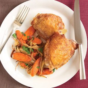 """<p>In just 25 minutes these seared chicken thighs will satisfy you any night of the week.</p><br /><p><b>Recipe:</b> <a href=""""/recipefinder/pan-seared-chicken-shallot-carrots-recipe-mslo0710""""><b>Pan-Seared Chicken with Shallot and Carrots</b></a></p>"""