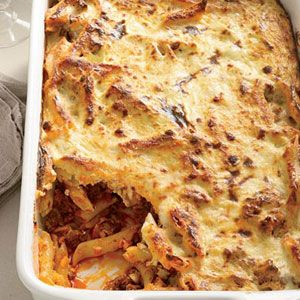 "<p>The moist and fragrant casserole pastitsio combines béchamel (a sauce of butter, flour, and milk), pasta, ground lamb, tomato sauce, cheese, cinnamon, and nutmeg. Instead of béchamel, this version calls for stirring a ricotta mixture into the pasta before baking it.</p><p><b>Recipe: <a href=""http://www.delish.com/recipefinder/greek-baked-pasta-recipe-a63b0fb1-59b9-43f1-8589b11161903fe3"" target=""_blank"">Greek Baked Pasta</a></b></p>"