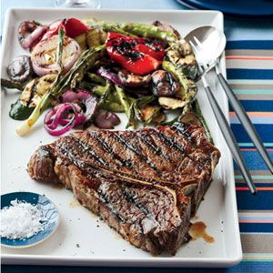 "Grill up this colorful mix of fresh vegetables and delicious porterhouse steak over a hot charcoal grill for smoky flavor. <br /><br /> <b>Recipe: <a href=""/recipefinder/grilled-porterhouse-steak-summer-vegetables-recipe""target=""_new"">Grilled Porterhouse Steak with Summer Vegetables</a></b>"